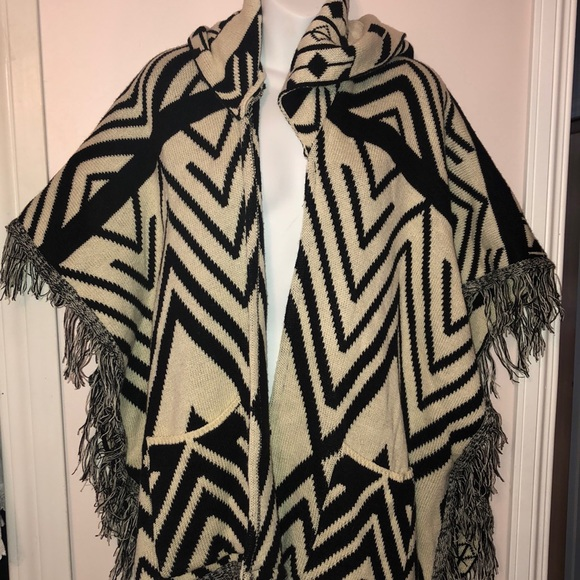 Aztec knit sweater Poncho with hood & pockets